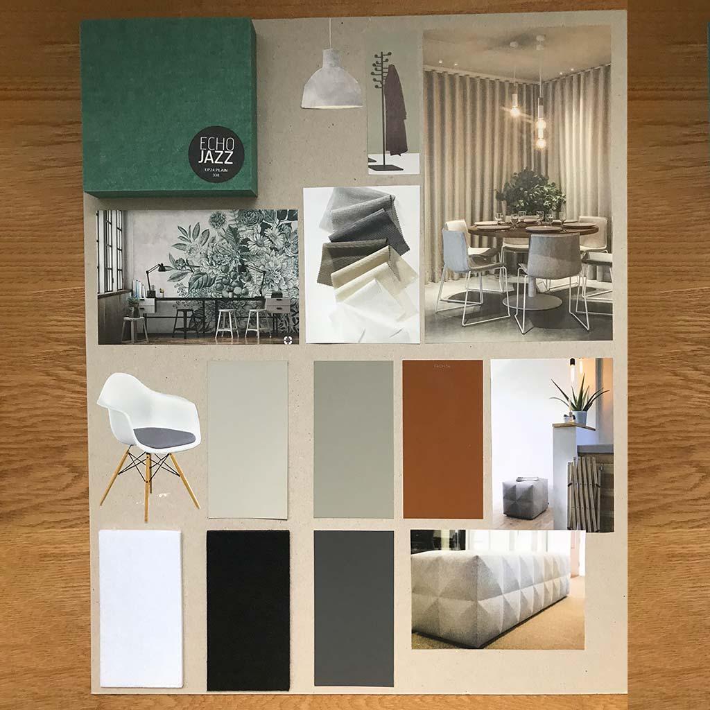 Ansicht eines Moodboard für die Gestaltung eines Markenraums. Gestaltungselemente wie Bodenbeläge, Tapeten, Bezugsstoffe werden farblich und materialtechnisch definiert.