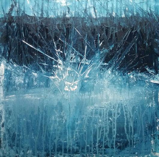 Einschlag - Wasser spritzt empor, sogleich nähert sich bedrohlich die schwarze Wand. ... Den Moment rückblickend einfrieren und  betrachten: Wann sind wir verletzlich? Was überwältigt uns? Wann explodieren, schäumen, erstarren oder versinken wir?