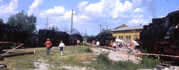"""Crailsheimer Dampfloktage 2003  mit sechs Dampfloks  (64 419, 64 491, 75 1118, 52 7596 und 01 519) aber noch ohne """"neue"""" Drehscheibe."""