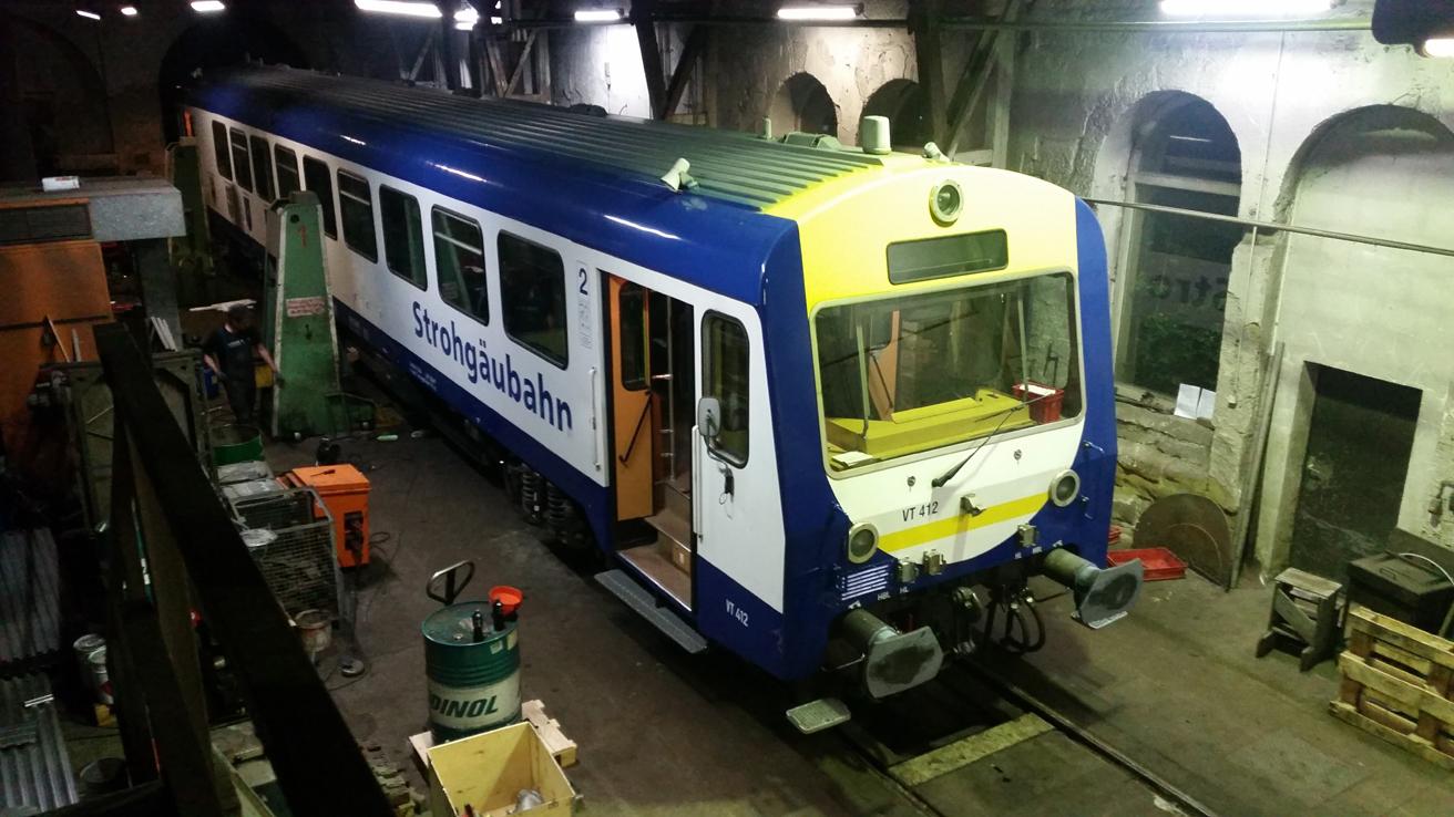 Der NE81 von der Waldbahn kam am Sonntag zu einem Ölwechsel nach Crailsheim.
