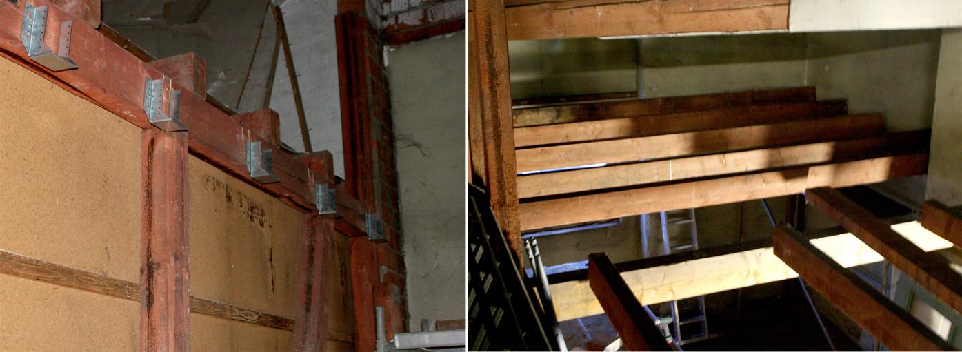 Der Umbau in Gleis 51 geht voran: Erst die neuen Balkenschuhe (Blick von unten) und dann die Deckebalken (Blick von oben)