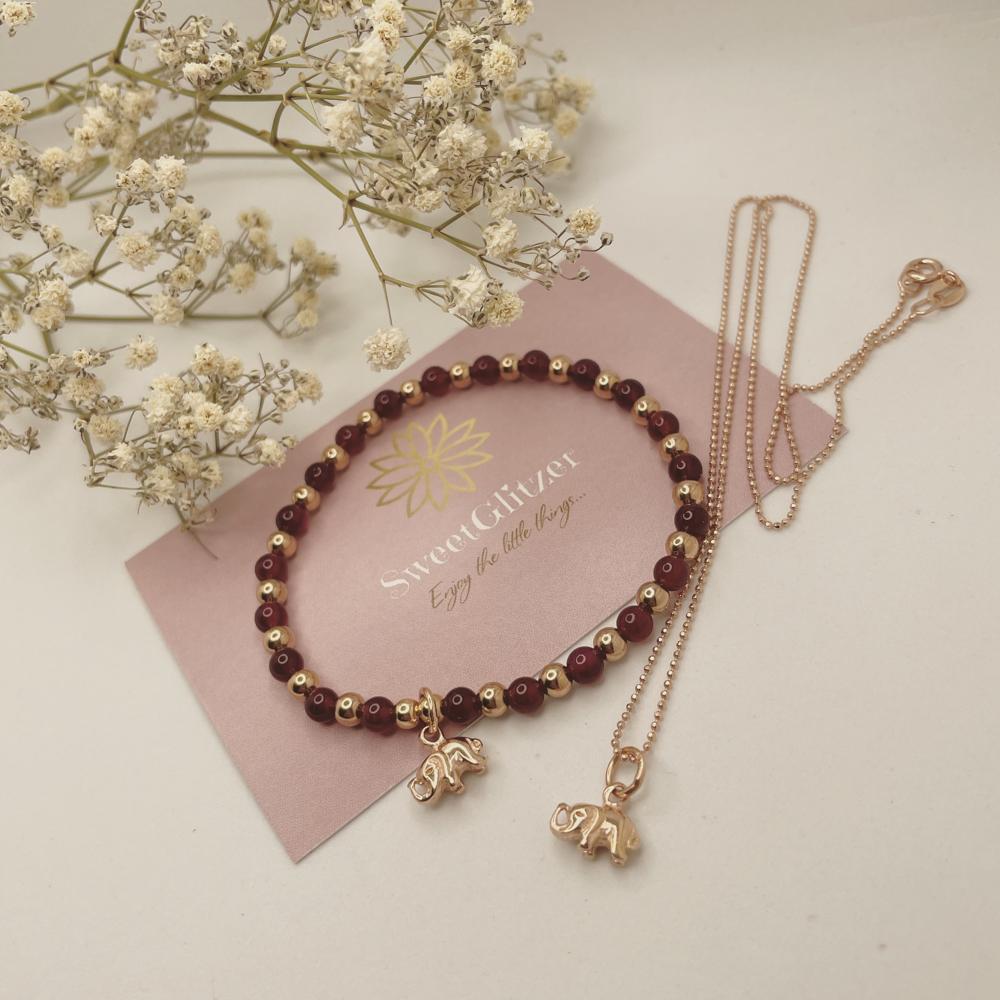 Armband/Kette mit Elefant rosévergoldet