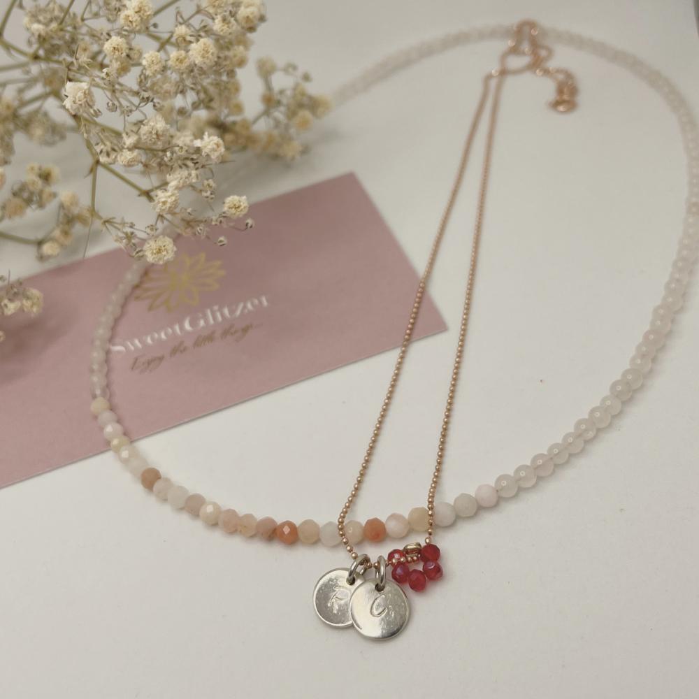 Edelsteinkette mit Kette rosévergoldet - Anhänger 925er Silber mit gestanzten Initialen