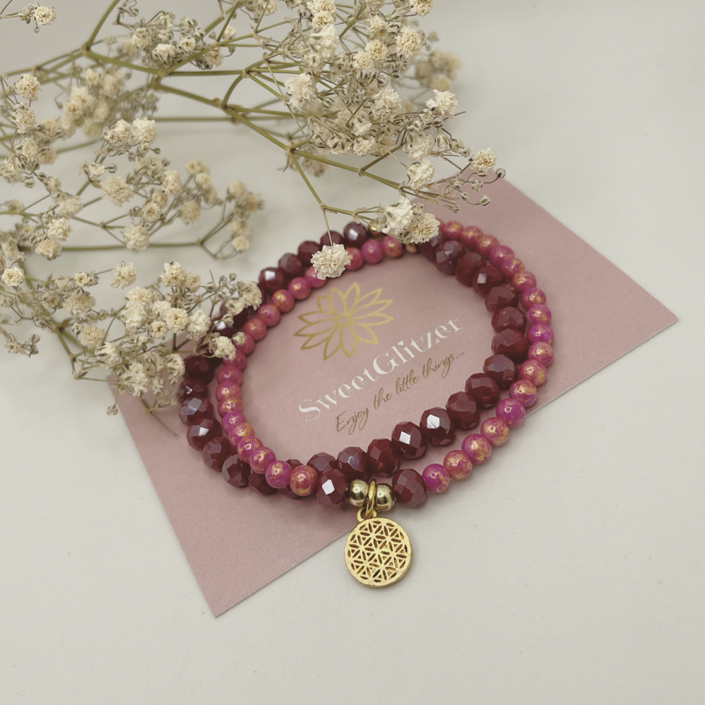 Wickelarmband mit Blume des Lebens vergoldet EUR 24,90