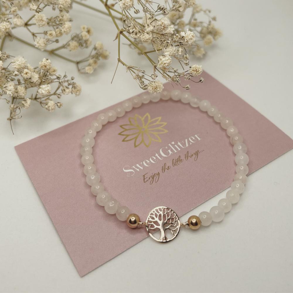 Armband mit Lebensbaum rosévergoldet und Rosenquarzperlen EUR 24,90