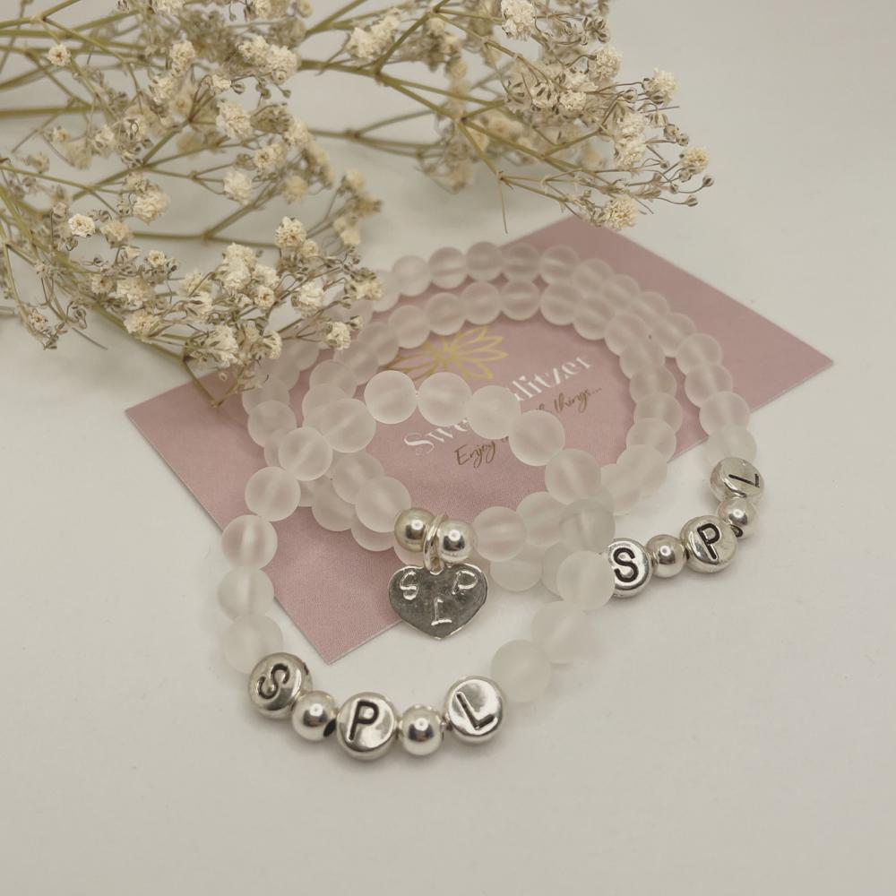 Armband mit Bergkristall - Initialen gestanzt