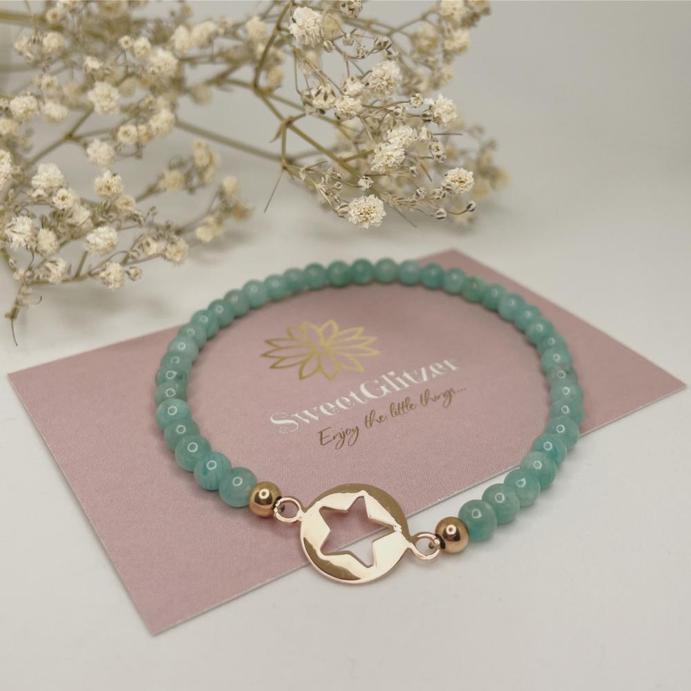 Armband mit Sternverbinder rosévergoldet und Edelsteinperlen EUR 24,90