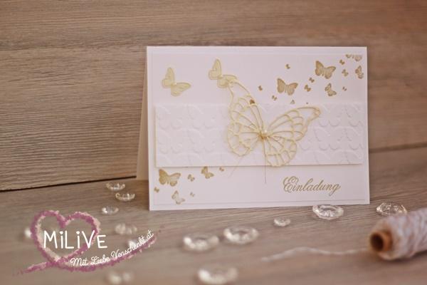 Hochzeitseinladung Stampin' Up! Schmetterling