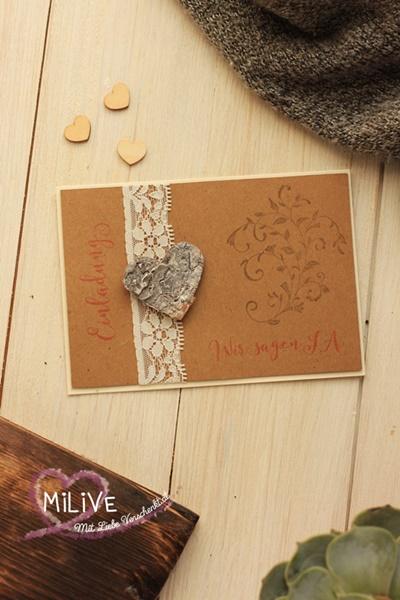 Vintage Hochzeitseinladung Hochzeit Einladungskarte Stampin' Up! Kraft Papier