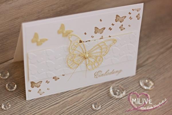 Hochzeitseinladung Schmetterling Gold