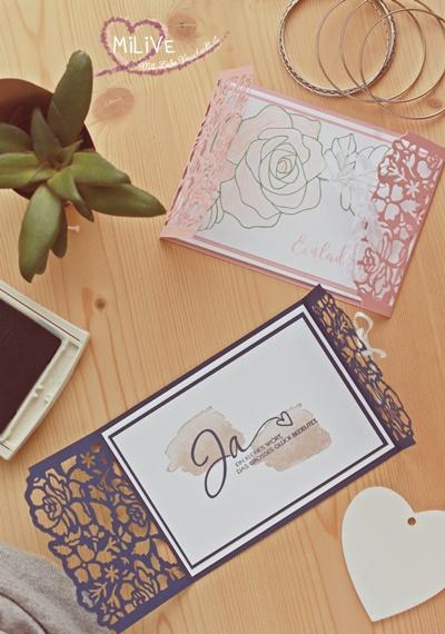 Romantische Hochzeitseinladung Stampin' Up Rosen Vintage