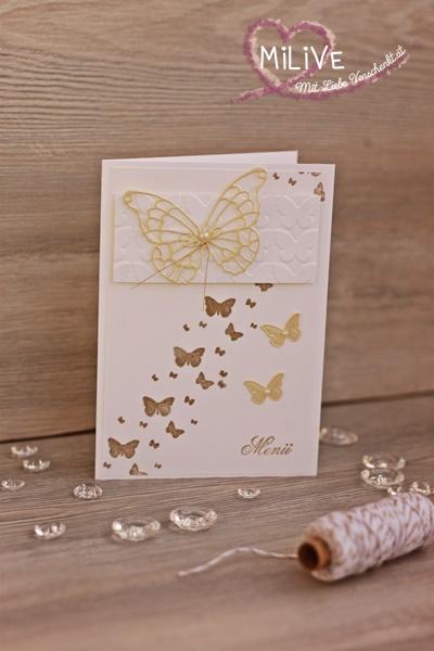 Hochzeit Schmetterling Gold Hochzeitspapeterie