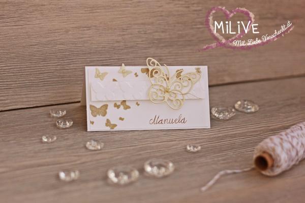 Namensschild Hochzeit Schmetterling