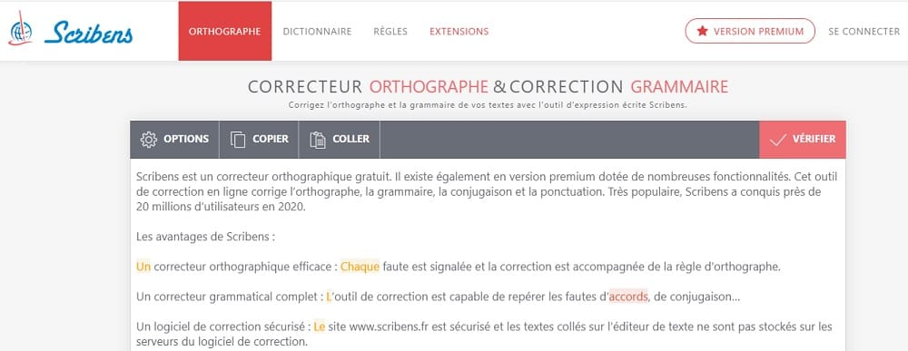 screenshot du correcteur d'orthographe Scribens