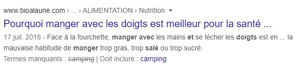 meta description créée par Google