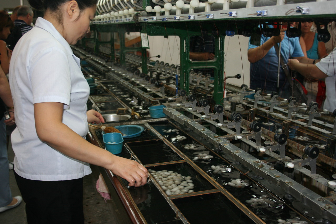 На фабрике шелка