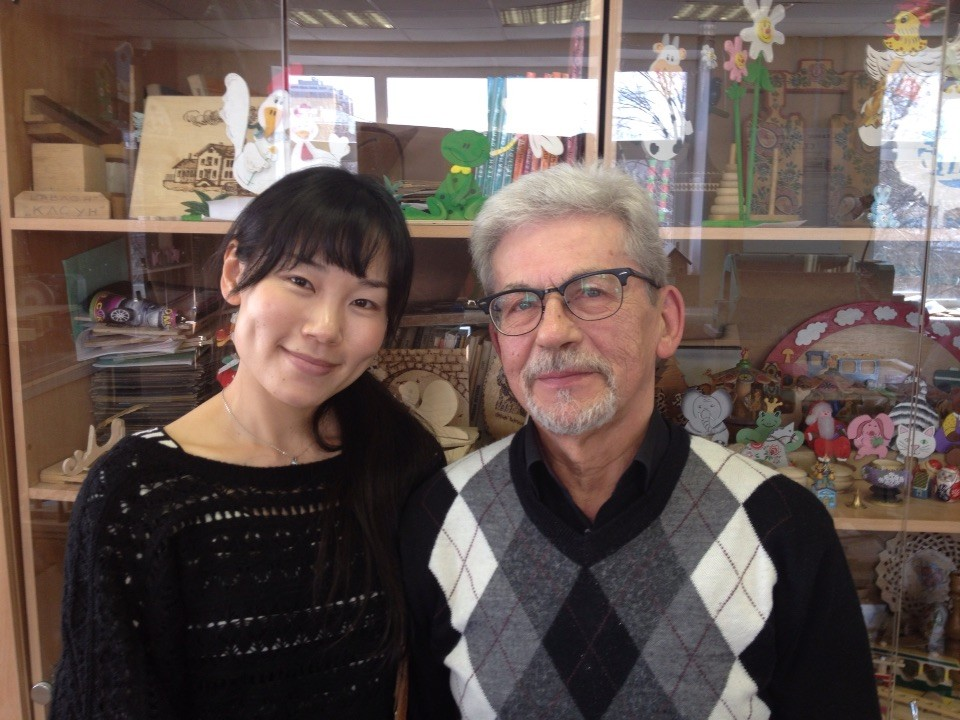 Нодзоми с учителем труда В Мирошниченко