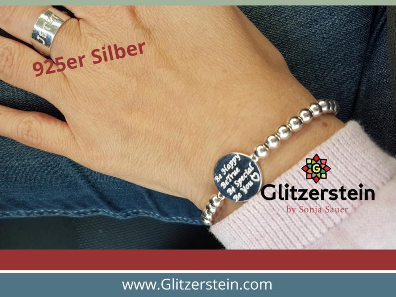 Kugelarmband aus 925er Silber in 5 mm mit dem Schmuckverbinder Be Happy