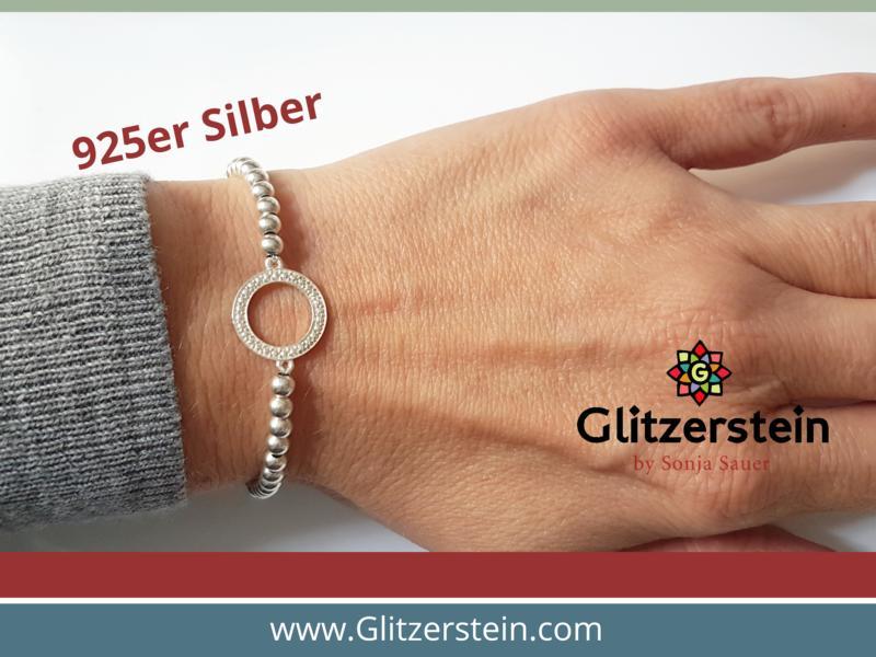Kugelarmband aus 925er Silber in 4 mm mit dem Schmuckverbinder Kreis