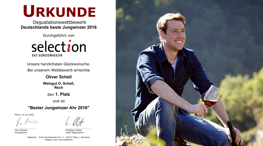 Deutschlands beste Jungwinzer Selection Oliver Schell Ahr Platz 1