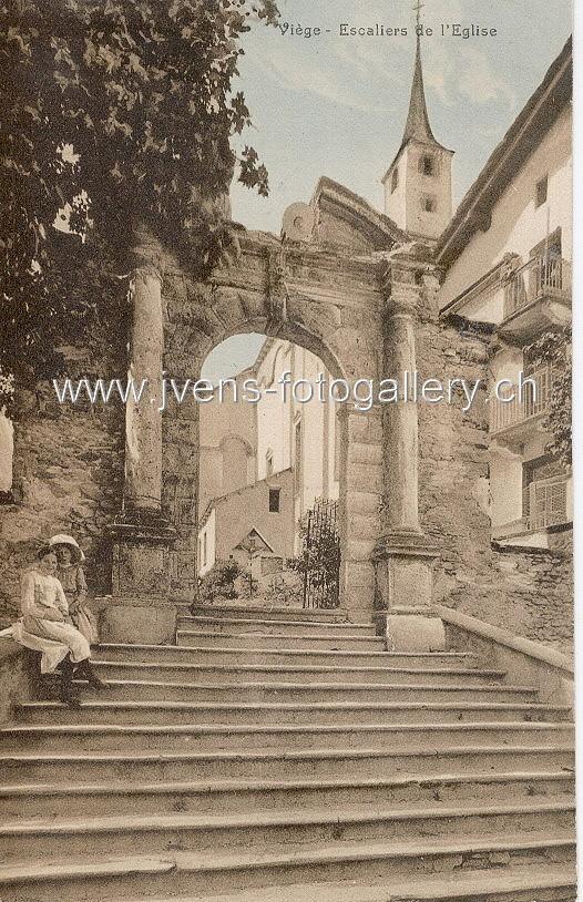 Kirche Visp Ansichtskarte Poststempel 18.06.1918