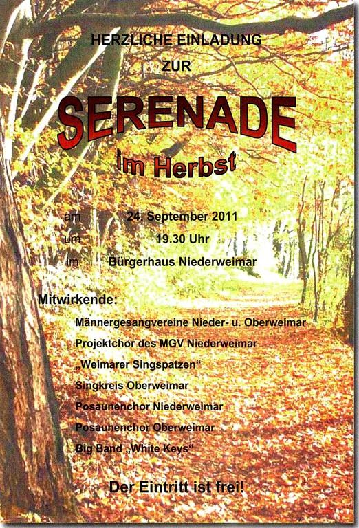"""Mitwirkung an """"Serenade im Herbst"""" am 24. September 2011 im Bürgerhaus Niederweimar"""