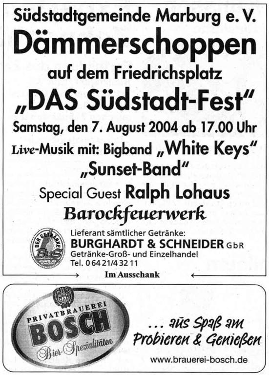 Dämmerschoppen der Südstadtgemeinde am 7.8.2004 auf dem Friedrichsplatz