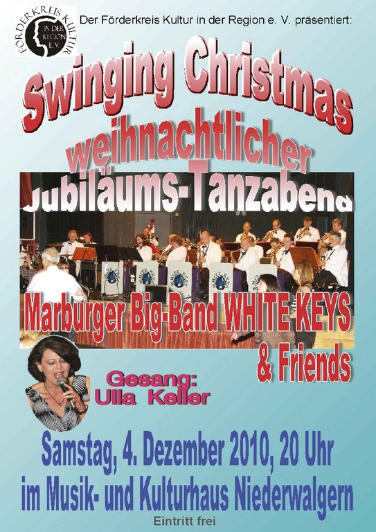Plakat zum weihnachtlichen Jubiläums-Tanzabend am 4.12.2010