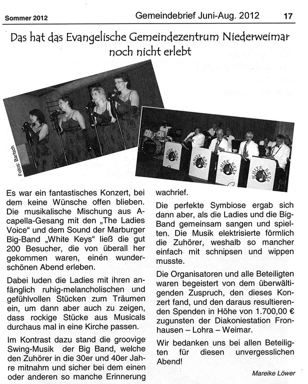 Gemeindebrief der ev.-luth. Kirchengemeinde Niederweimar Juni - Aug. 2012