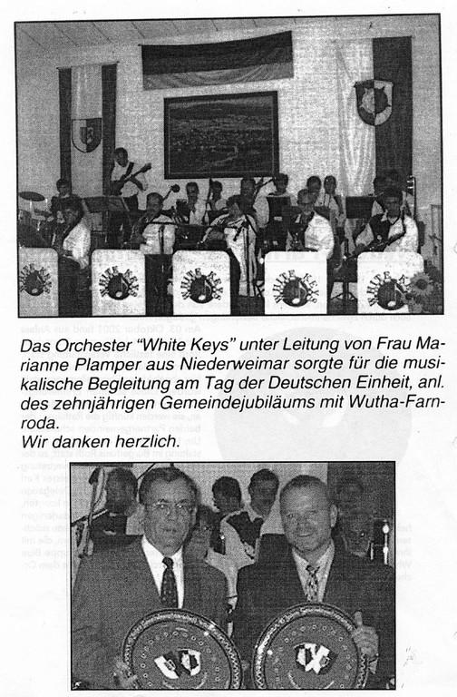10 Jahre Gemeindepartnerschaft Weimar/Wutha-Farnroda; Dank der Gemeinde