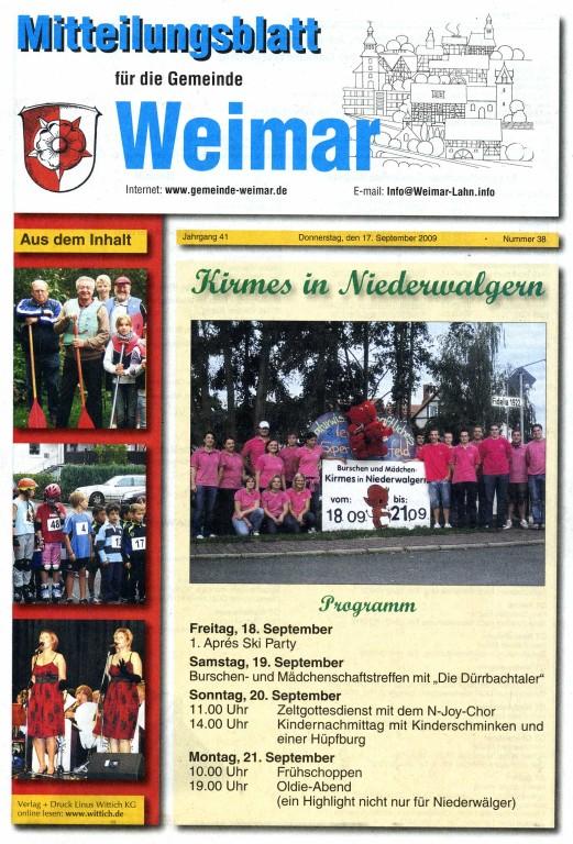 Mitteilungsblatt Weimar 17.9.2009 Titelseite