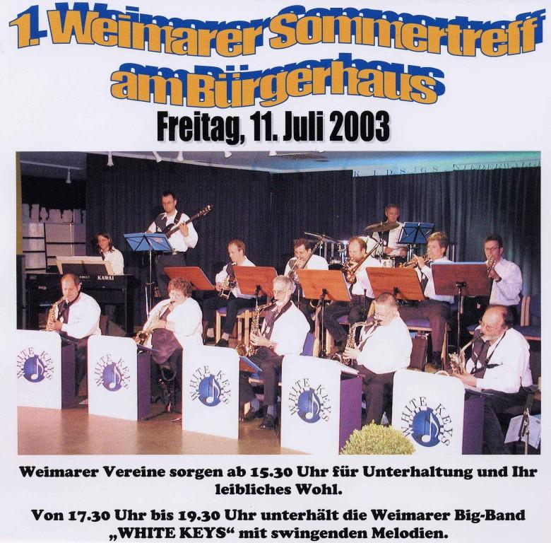 1. Weimarer Sommertreff am 11.7.2003 am Bürgerhaus Niederweimar