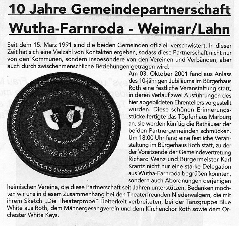 10 Jahre Gemeindepartnerschaft Weimar/Wutha-Farnroda