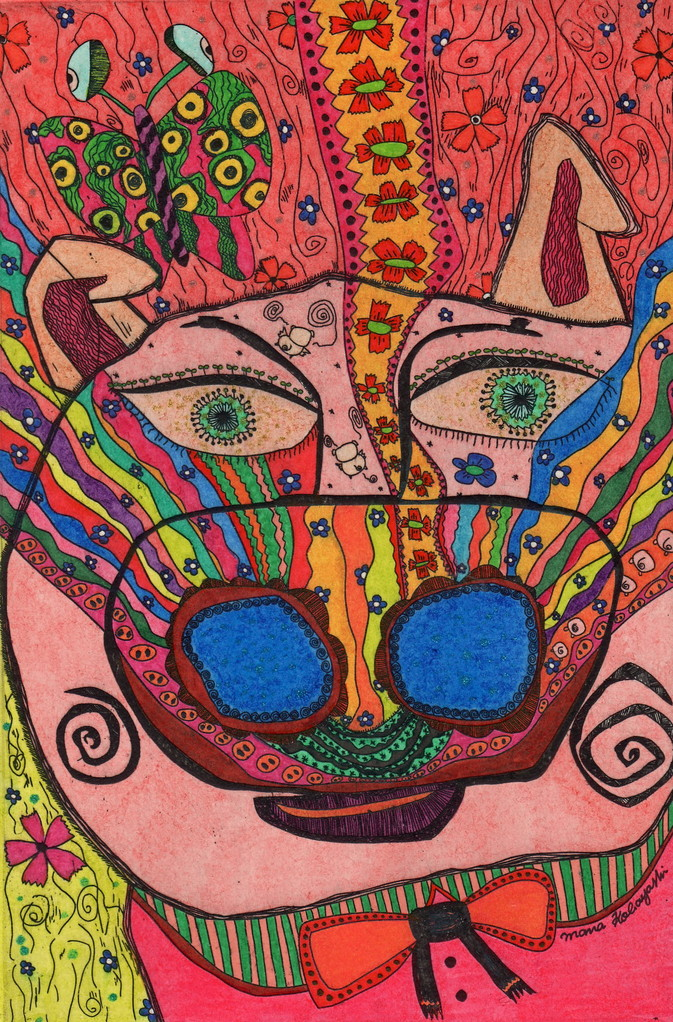 「豚の鼻にも虹」 サイズ18×12cm 銅版画・手彩色/紙