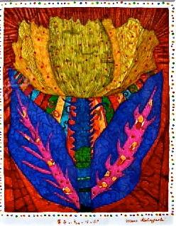「黄色いちゅーりっぷ」 サイズ20×16cm 銅版画・手彩色/紙