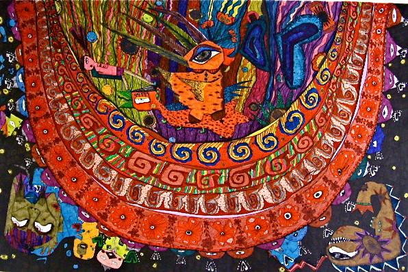 「黒い夜空の向こうに」 サイズ34.4×50.7cm 銅版画・手彩色/紙