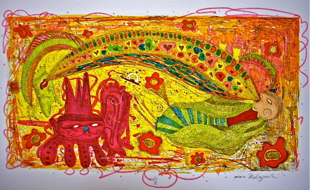 「愛」 サイズ14.3×250cm 銅版画・手彩色/紙