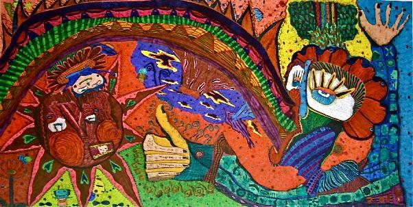 「世界に向けて口から虹を吐く」 サイズ33×65cm 銅版画・手彩色/紙