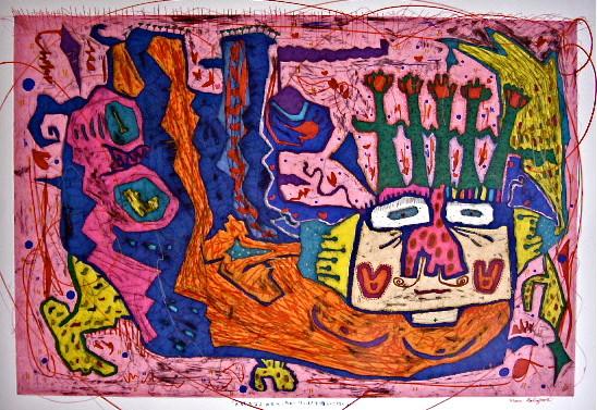 「頭でちゅーりっぷ栽培中」 サイズ33.5×49.5cm 銅版画・手彩色/紙