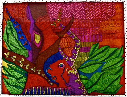 「人と自然」 サイズ37×47.7cm 銅版画・手彩色/紙