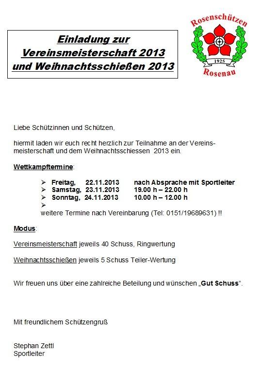 Einladung Vereinsmeisterschaft 2013