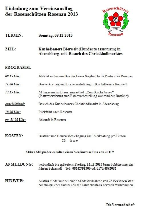 Einladung Vereinsausflug 2013