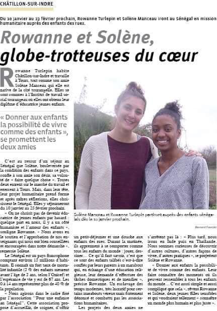 Article publié dans le Journal La Renaissance Lochoise par Bernard en Janvier 2019.