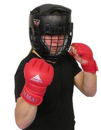 Schutzausrüstung für den Kung Fu Freikampf: Helm und Handschuhe mit Griffmöglichkeit