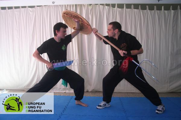 Waffen Partnerform: Verteidigung mit Schild und Messer gegen die Tigergabel