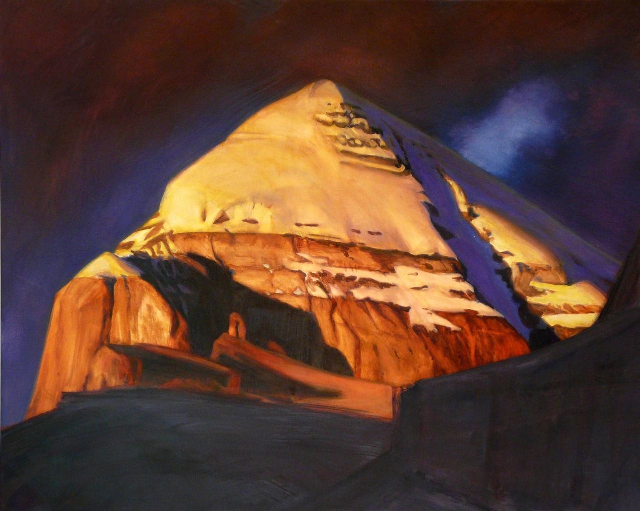 1. Kailash rot, Gouache + Acryl auf Leinwand, 80 x 100 cm, 2013