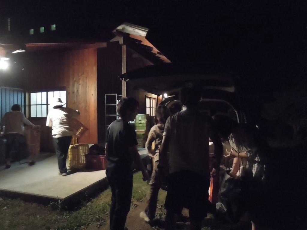 7月24日夜、益子に到着、器財をおろす。