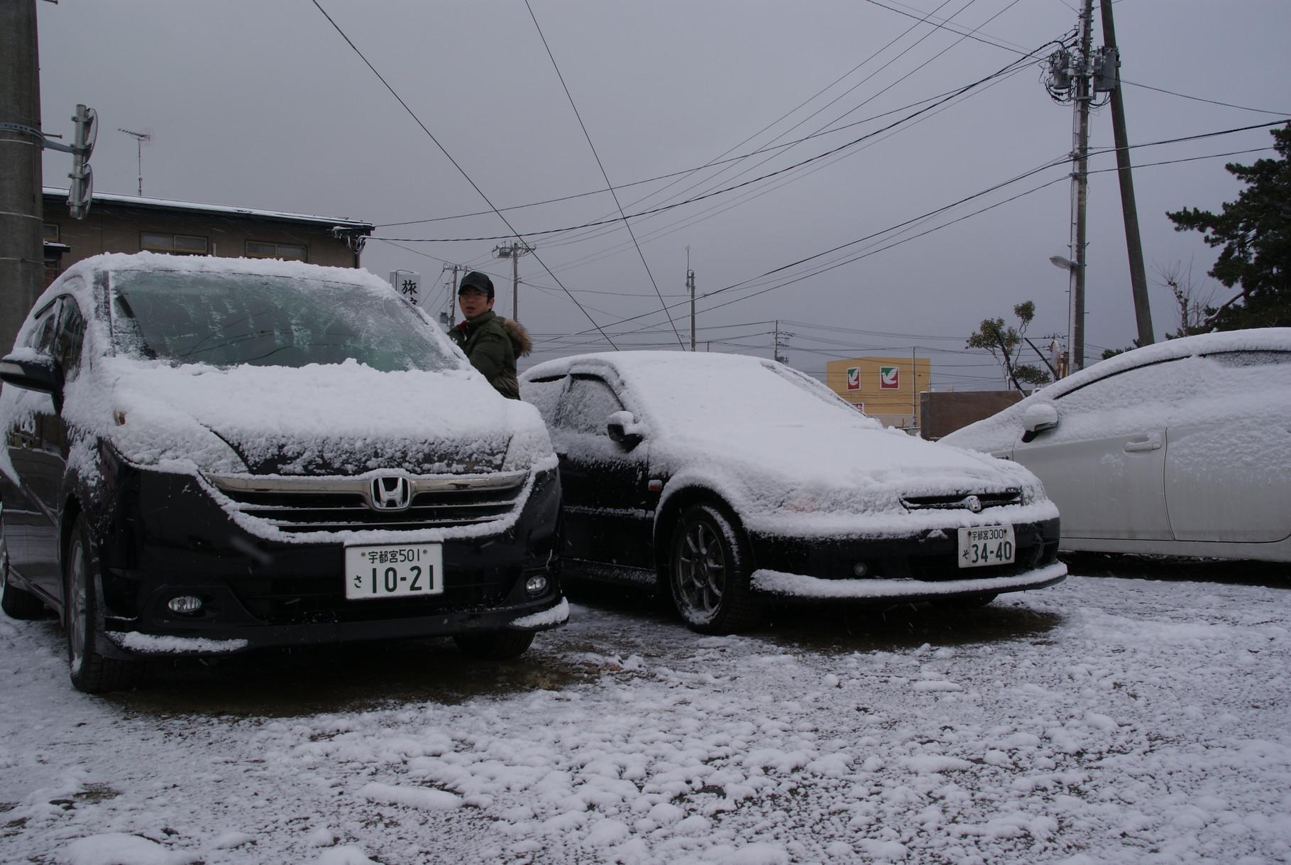 夜からの雪で一面真っ白に