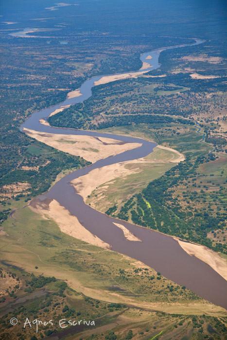 La rivière Luangwa vue du ciel