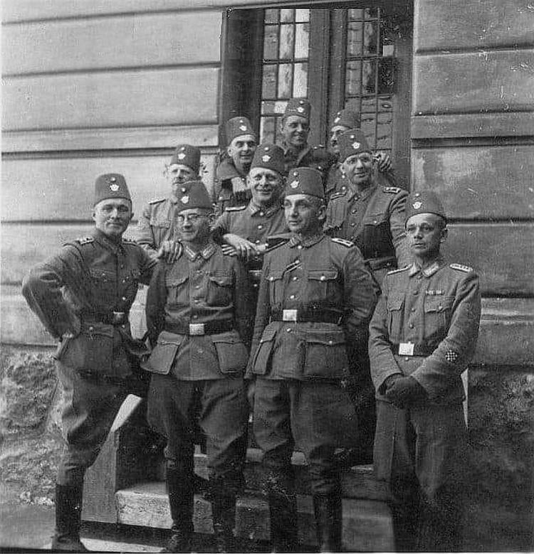 Slika prikazuje pripadnike žandarmerije Sarajeva. Jedna od najočitijih razlika između članova Vojne policije s regularnom vojskom je simbol Polizei Handschar prikazan u Fesu, umjesto orla SS